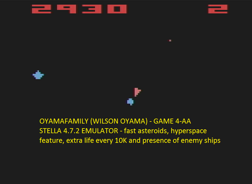 oyamafamily: Asteroids: Game 4 (Atari 2600 Emulated Expert/A Mode) 5,050 points on 2016-07-15 07:30:38