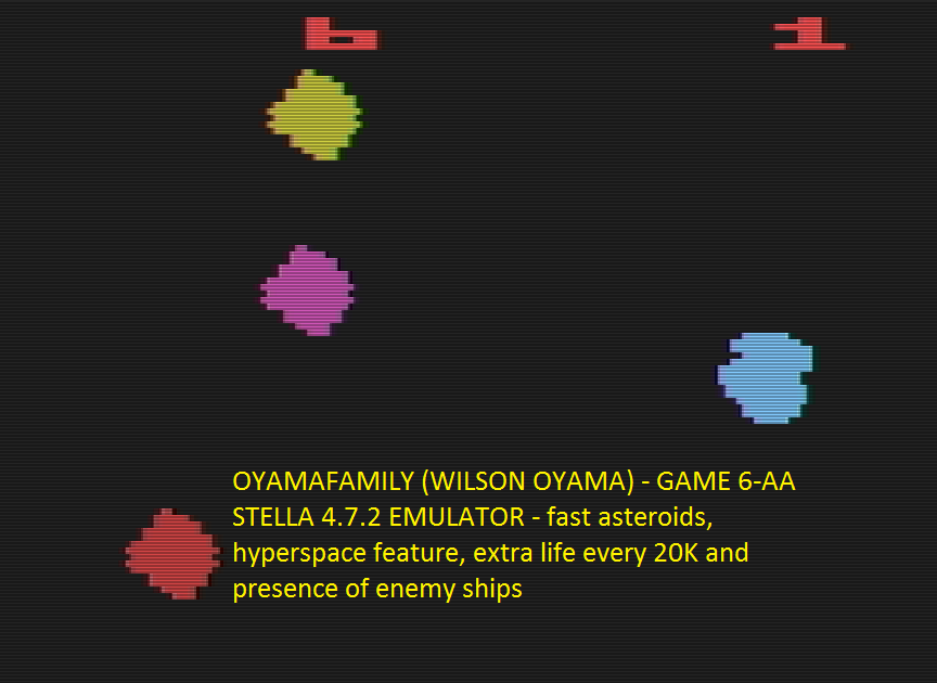 oyamafamily: Asteroids: Game 6 (Atari 2600 Emulated Expert/A Mode) 5,020 points on 2016-07-15 07:32:11