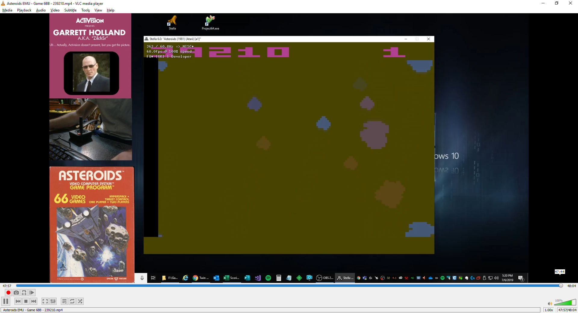 ZilchSr: Asteroids: Game 6 (Atari 2600 Emulated Novice/B Mode) 239,210 points on 2019-07-06 16:35:11