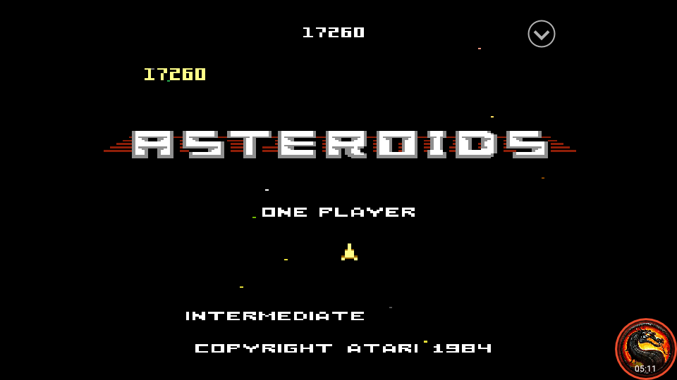 omargeddon: Asteroids: Intermediate (Atari 7800 Emulated) 17,260 points on 2020-10-14 01:22:01