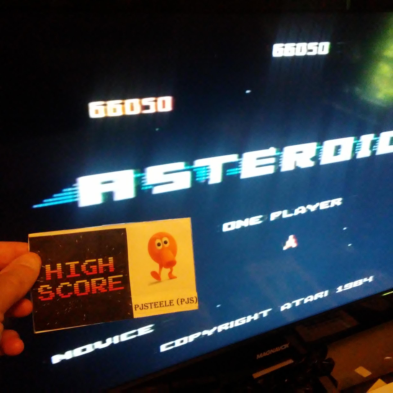 Pjsteele: Asteroids: Novice (Atari 7800) 66,050 points on 2018-09-03 11:43:06