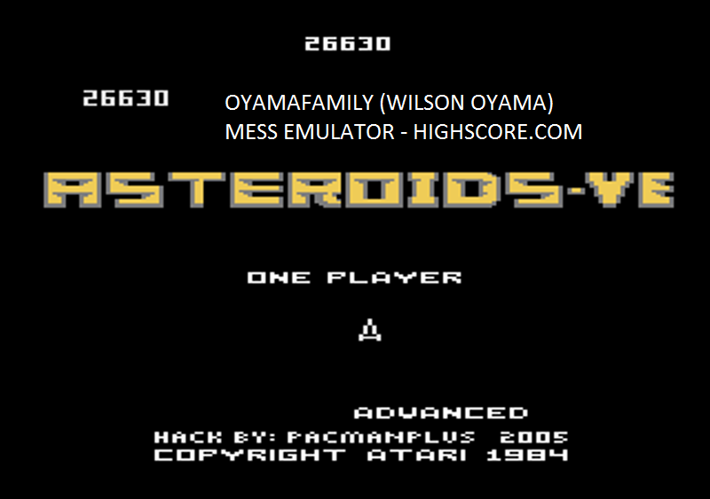 oyamafamily: Asteroids-VE: Advanced (Atari 7800 Emulated) 26,630 points on 2016-02-13 03:42:34