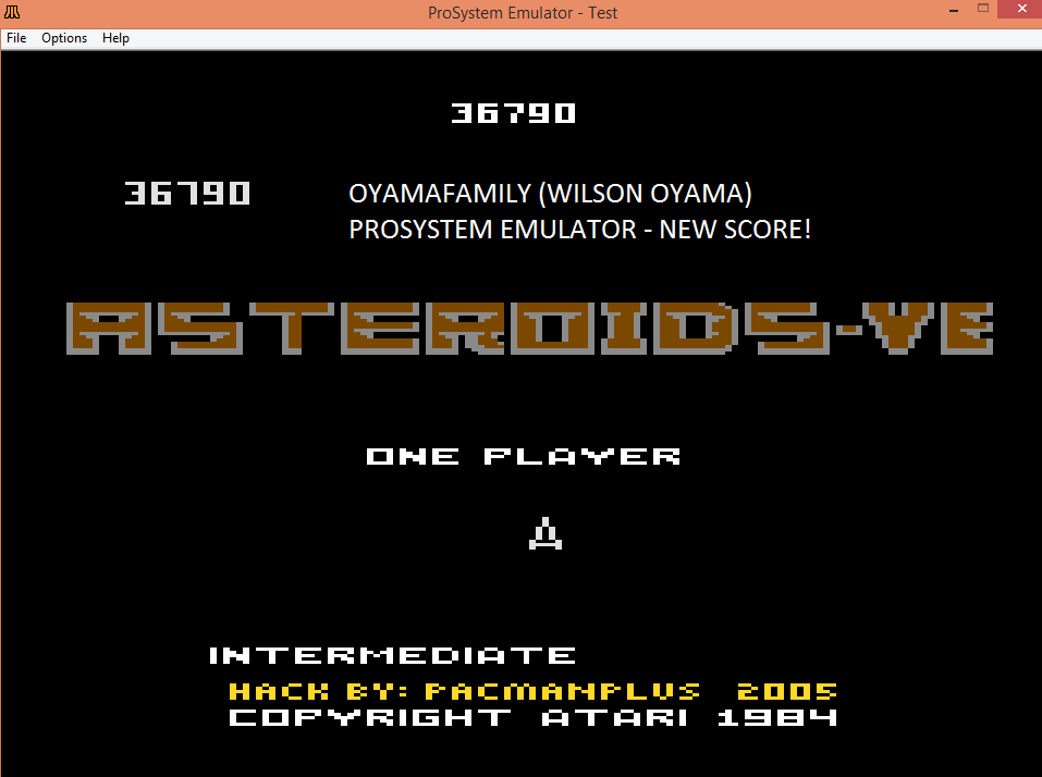 oyamafamily: Asteroids-VE: Intermediate (Atari 7800 Emulated) 36,790 points on 2016-03-09 18:05:25