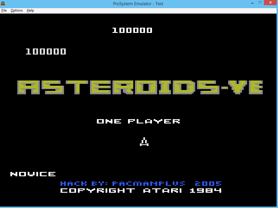 oyamafamily: Asteroids-VE: Novice (Atari 7800 Emulated) 100,000 points on 2016-03-09 18:05:38