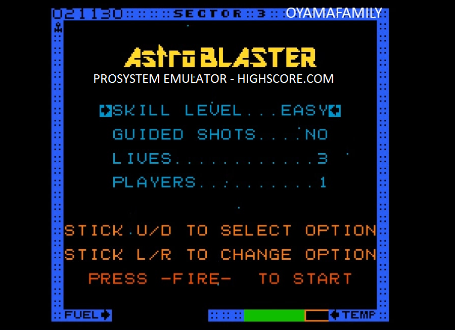oyamafamily: Astro Blaster [Easy] (Atari 7800 Emulated) 26,930 points on 2016-02-16 17:23:40