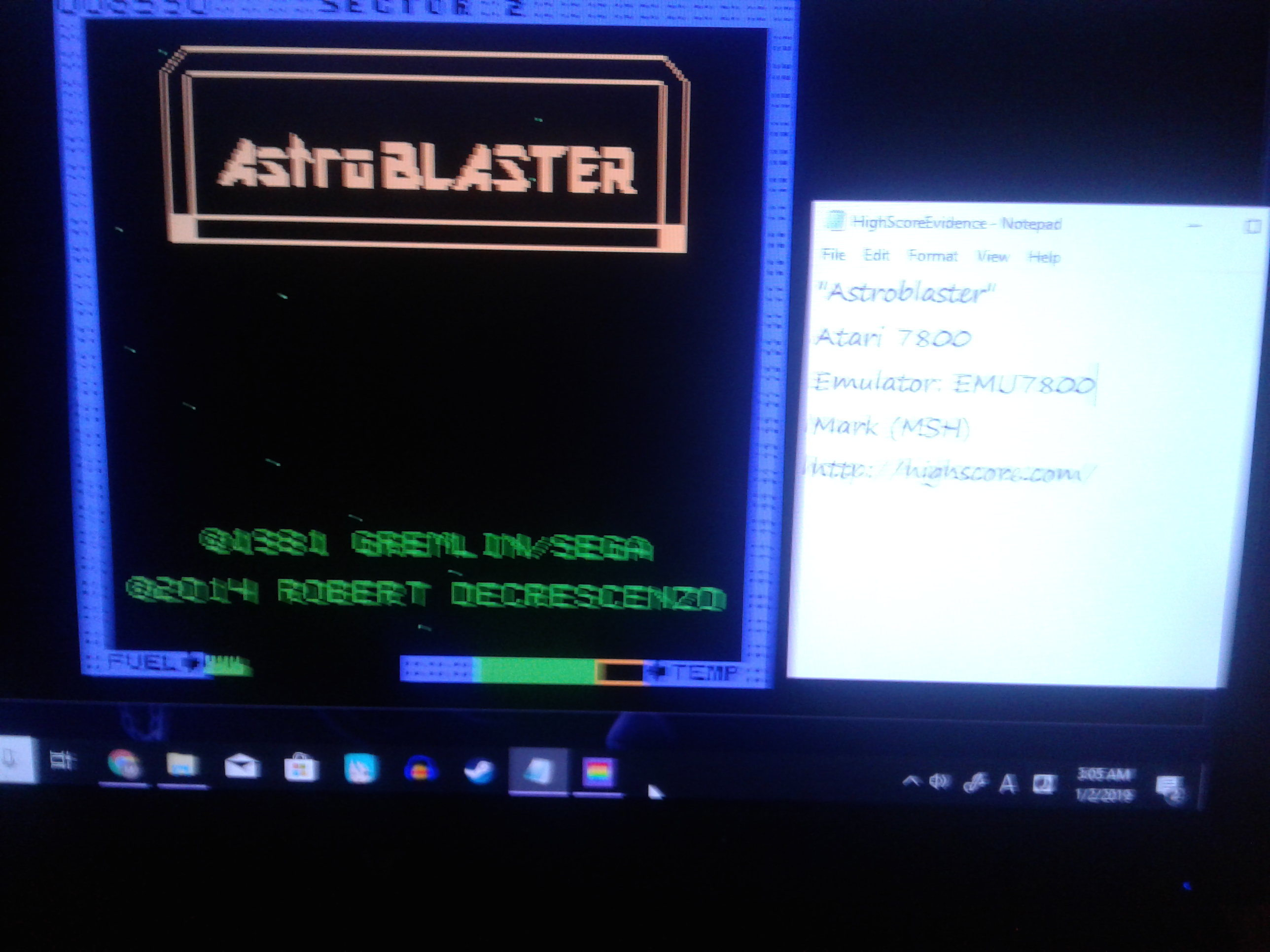 Mark: Astro Blaster [Easy] (Atari 7800 Emulated) 6,590 points on 2019-01-02 20:49:23