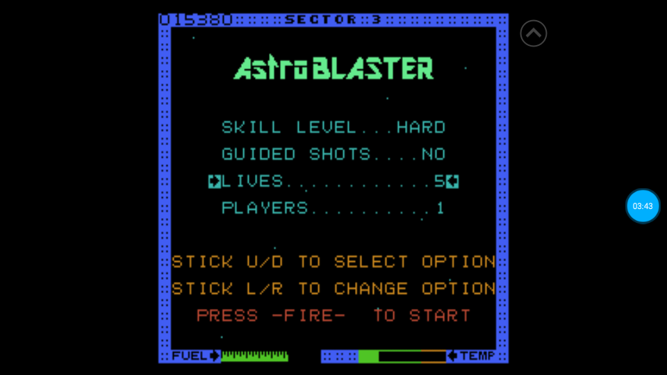 omargeddon: Astro Blaster [Hard/5 Lives] (Atari 7800 Emulated) 15,380 points on 2018-07-10 00:58:12