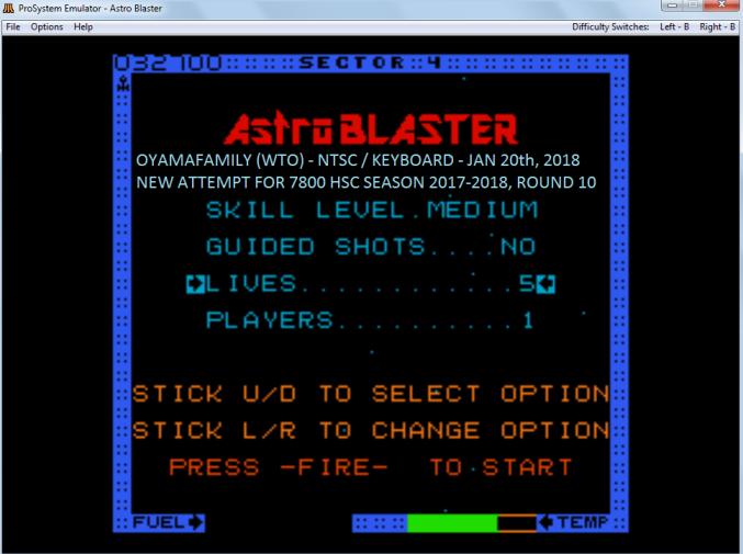 oyamafamily: Astro Blaster [Medium/5 Lives] (Atari 7800 Emulated) 32,700 points on 2018-08-12 07:24:34