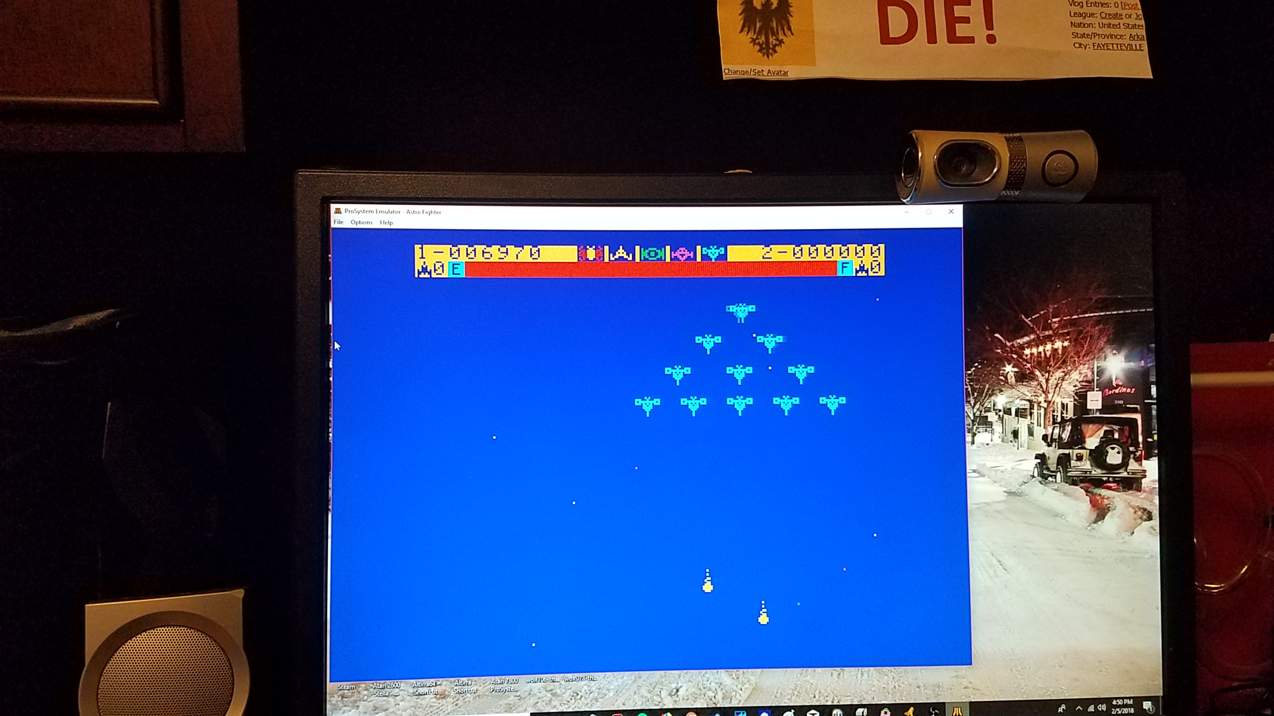 MikeDietrich: Astro Fighter [Easy / 3 Lives] (Atari 7800 Emulated) 6,970 points on 2018-02-05 16:54:08