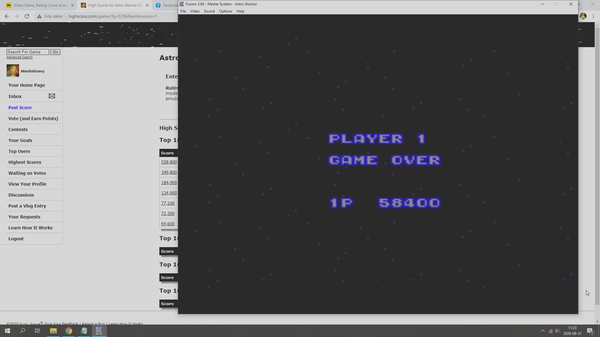 AkinNahtanoj: Astro Warrior (Sega Master System Emulated) 58,400 points on 2020-08-31 04:41:06