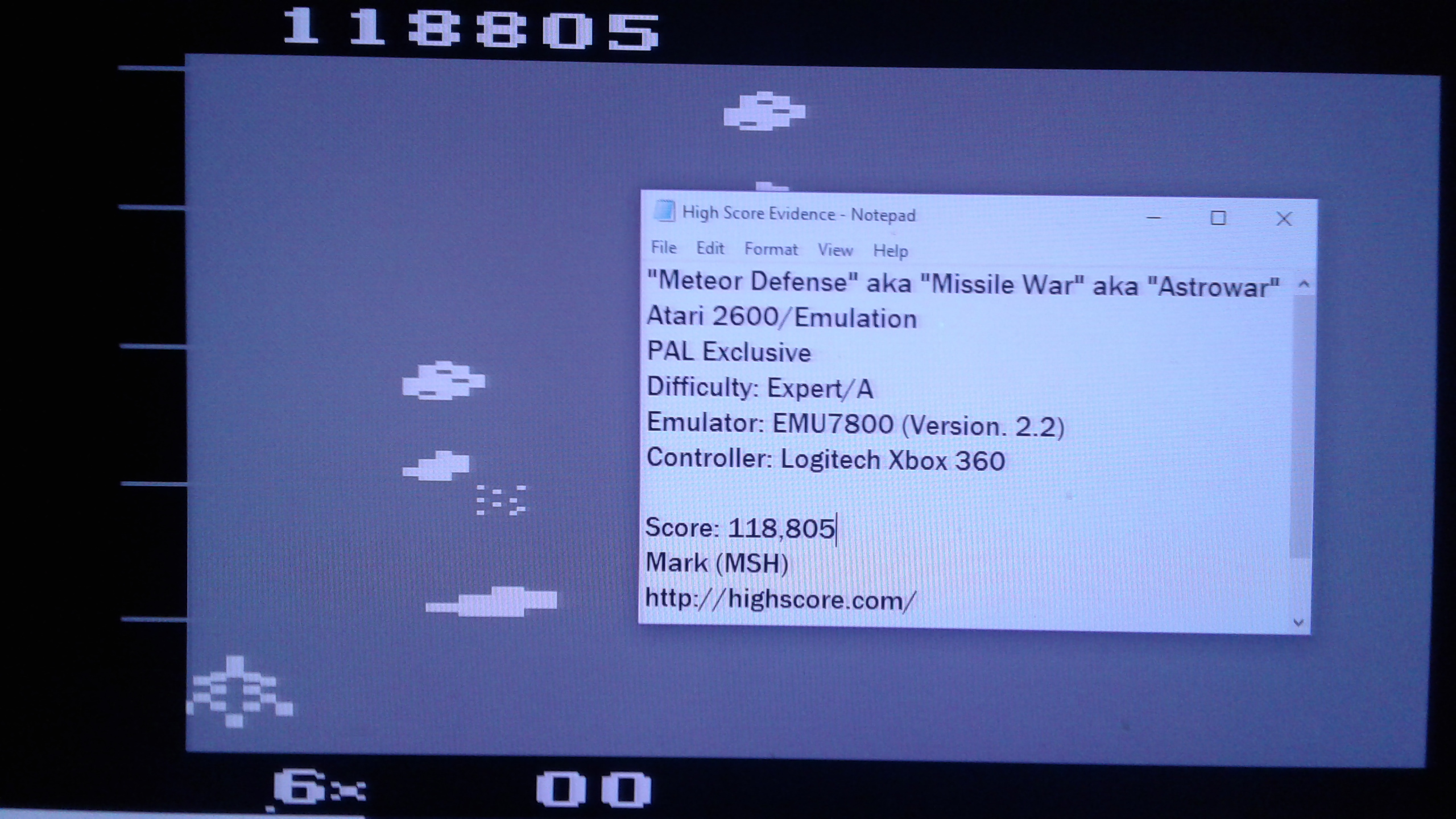 Mark: Astrowar / Meteor Defense / Kampf im Asteroiden-Gürtel (Atari 2600 Emulated Expert/A Mode) 118,805 points on 2019-03-16 00:13:11