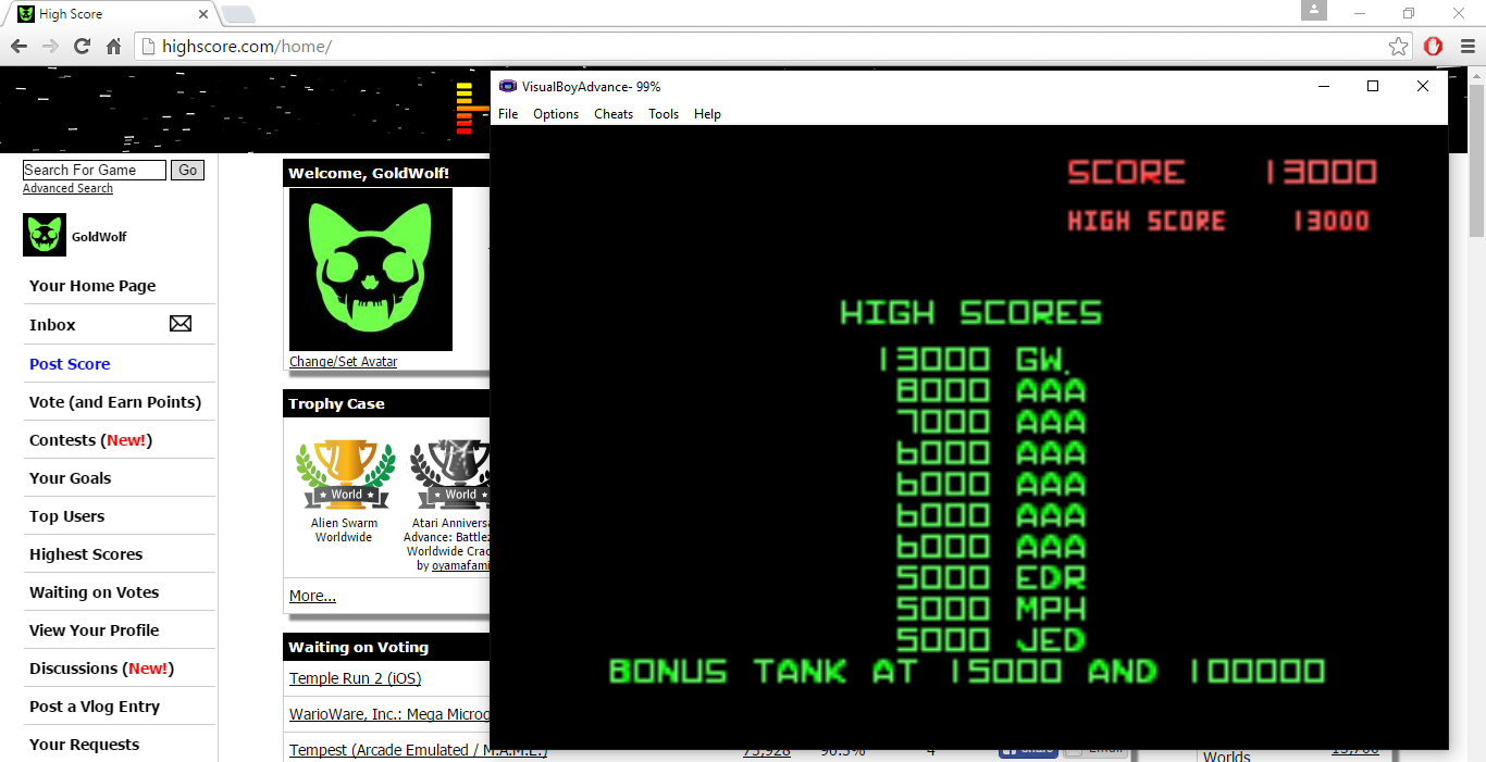 GoldWolf: Atari Anniversary Advance: Battlezone (GBA Emulated) 13,000 points on 2016-09-11 10:09:34