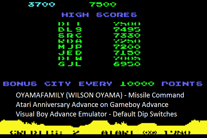 oyamafamily: Atari Anniversary Advance: Missile Command (GBA Emulated) 3,700 points on 2016-08-01 17:17:14