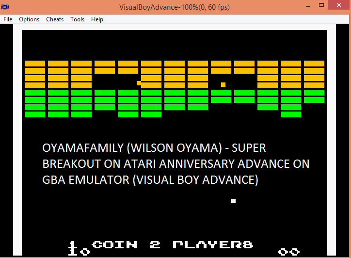 oyamafamily: Atari Anniversary Advance: Super Breakout (GBA Emulated) 10 points on 2016-08-01 20:03:39