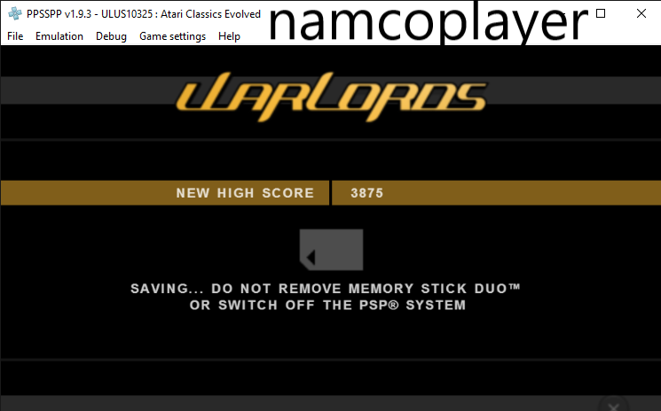 NamcoPlayer: Atari Classics Evolved: Warlords [Classic] (PSP Emulated) 3,875 points on 2020-07-28 10:35:30