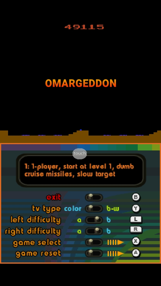 omargeddon: Atari Greatest Hits: Missile Command: Game 1 [Atari 2600] (Nintendo DS Emulated) 49,115 points on 2018-10-06 22:56:19