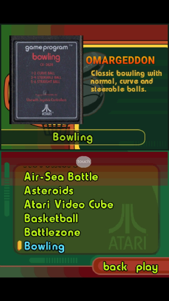 omargeddon: Atari Greatest Hits: Volume 1: Bowling: Game 1 [Atari 2600] (Nintendo DS Emulated) 185 points on 2018-10-06 22:33:53