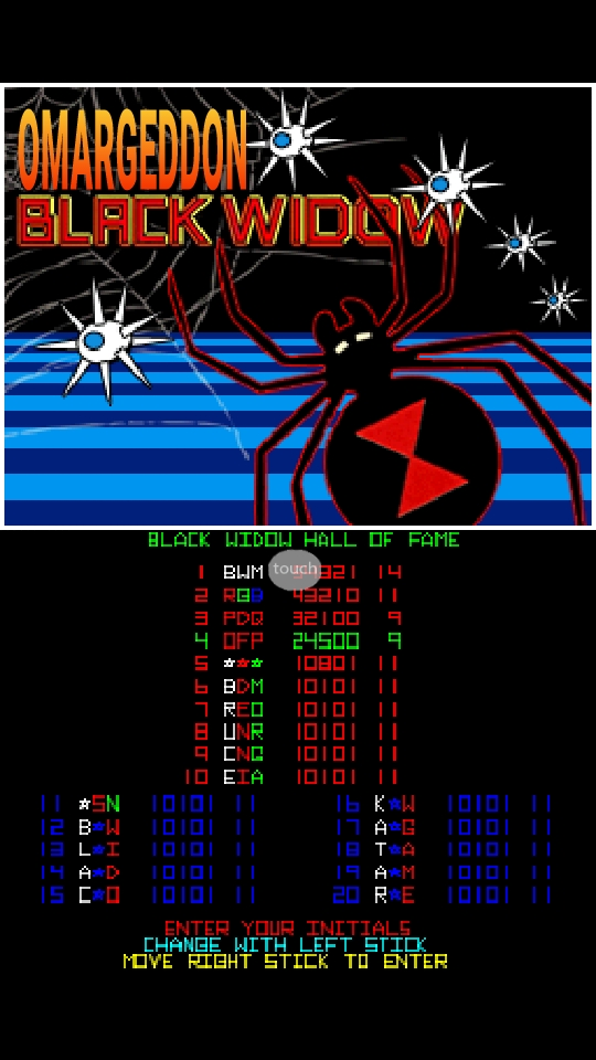 omargeddon: Atari Greatest Hits: Volume 2: Black Widow [Arcade] (Nintendo DS Emulated) 24,500 points on 2018-10-19 15:19:48