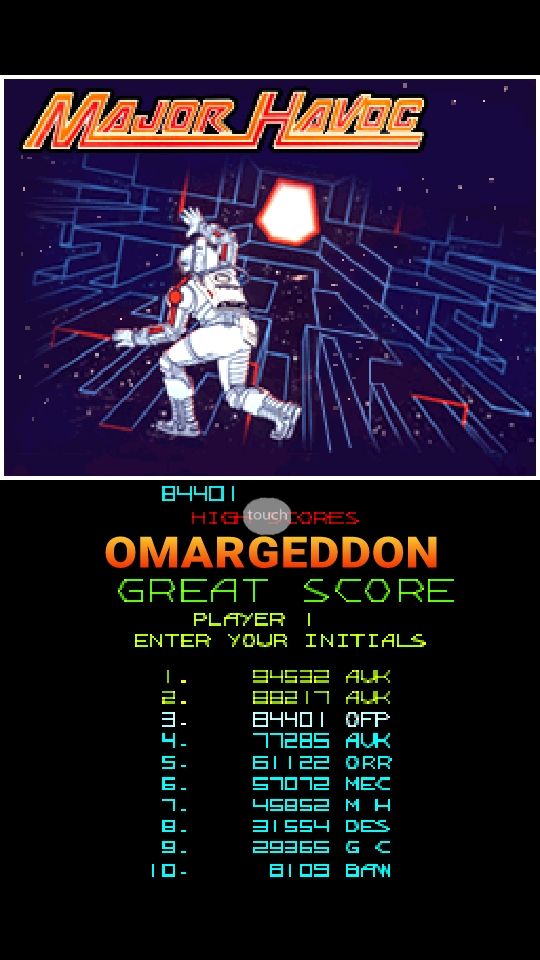 omargeddon: Atari Greatest Hits: Volume 2: Major Havoc [Arcade] (Nintendo DS Emulated) 84,401 points on 2018-10-23 23:23:34