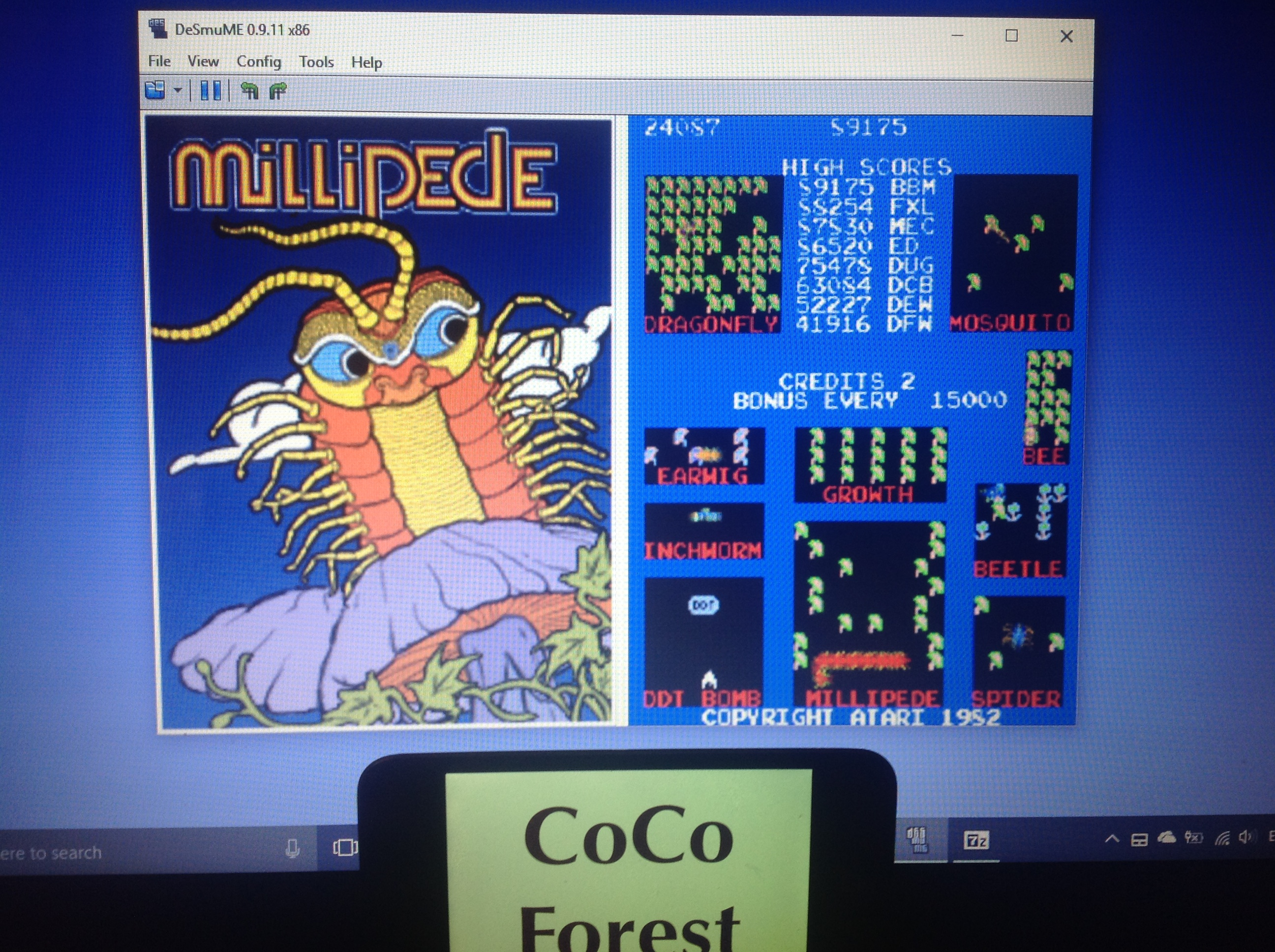 CoCoForest: Atari Greatest Hits: Volume 2: Millipede [Arcade] (Nintendo DS Emulated) 24,087 points on 2018-01-31 09:26:21