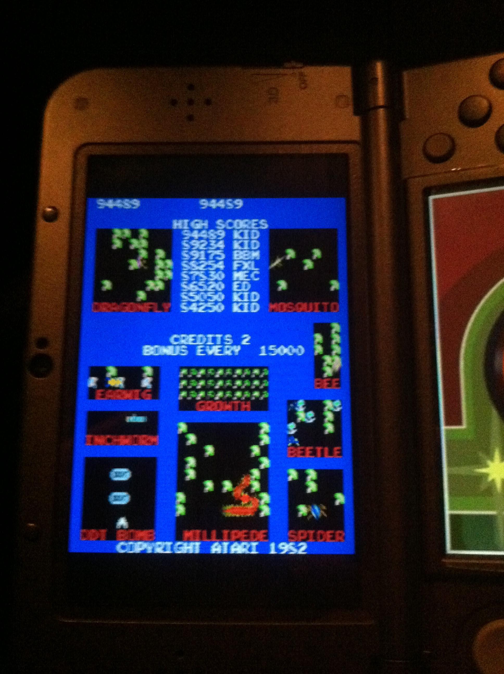 DakotaKid: Atari Greatest Hits: Volume 2: Millipede [Arcade] (Nintendo DS) 94,489 points on 2019-02-22 22:48:40