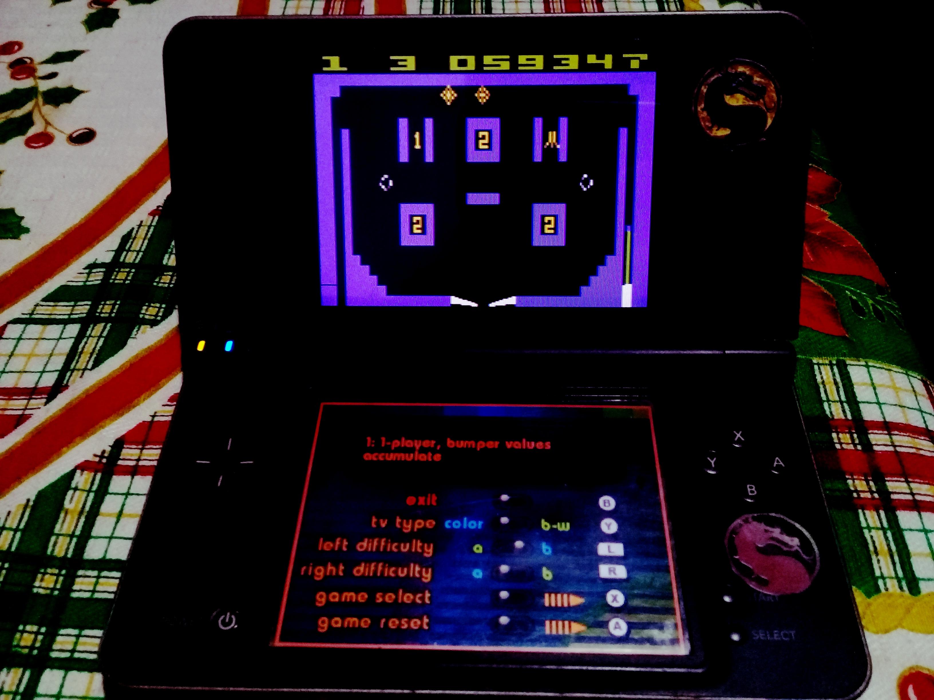 omargeddon: Atari Greatest Hits: Volume 2: Video Pinball [Atari 2600] (Nintendo DS) 59,347 points on 2021-03-18 19:47:41