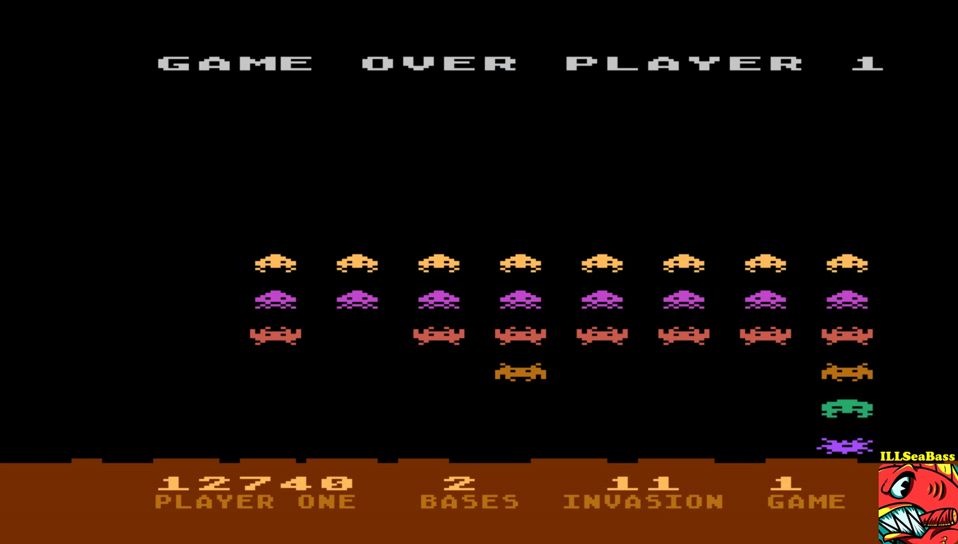 ILLSeaBass: Atari Invaders (Atari 400/800/XL/XE Emulated) 12,740 points on 2017-06-24 23:04:12