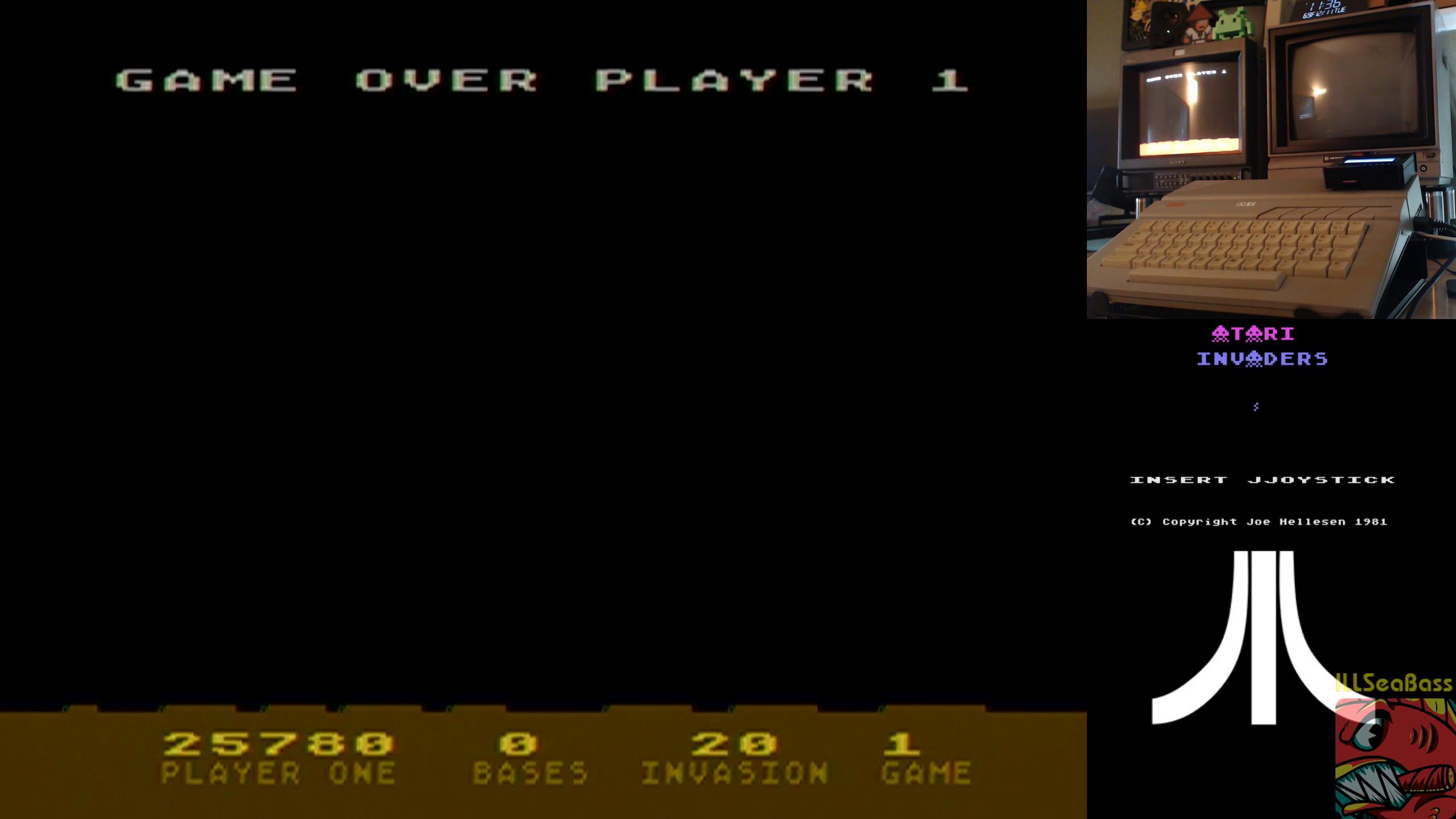 ILLSeaBass: Atari Invaders (Atari 400/800/XL/XE) 25,780 points on 2018-12-13 11:47:47