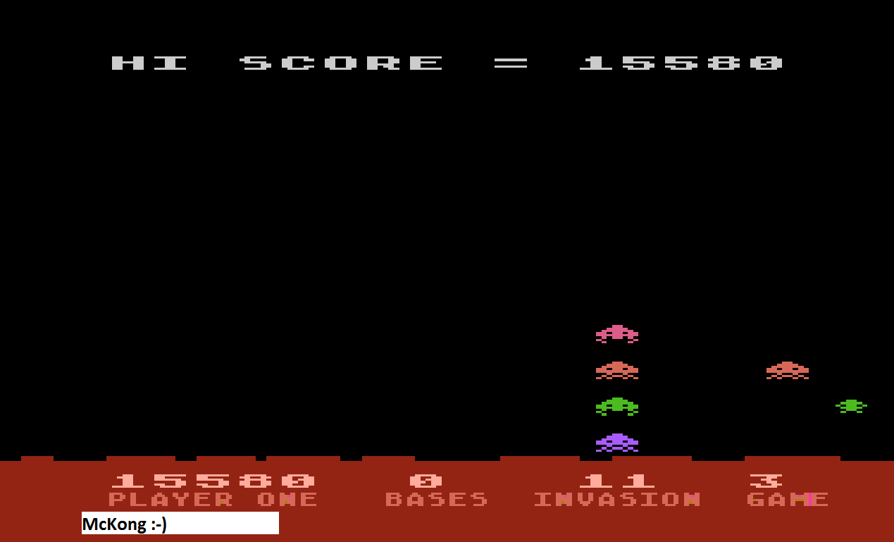 Atari Invaders [Game 3] 15,580 points