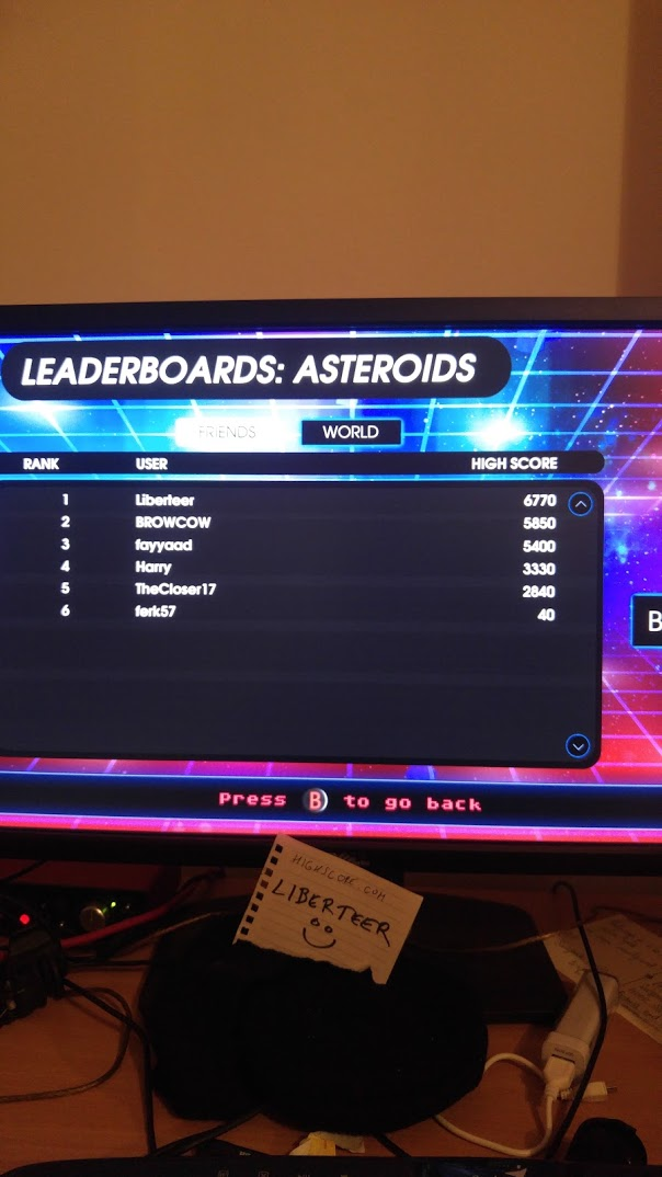 liberteer: Atari Vault: Asteroids [Arcade] (PC) 6,770 points on 2018-05-15 08:46:21