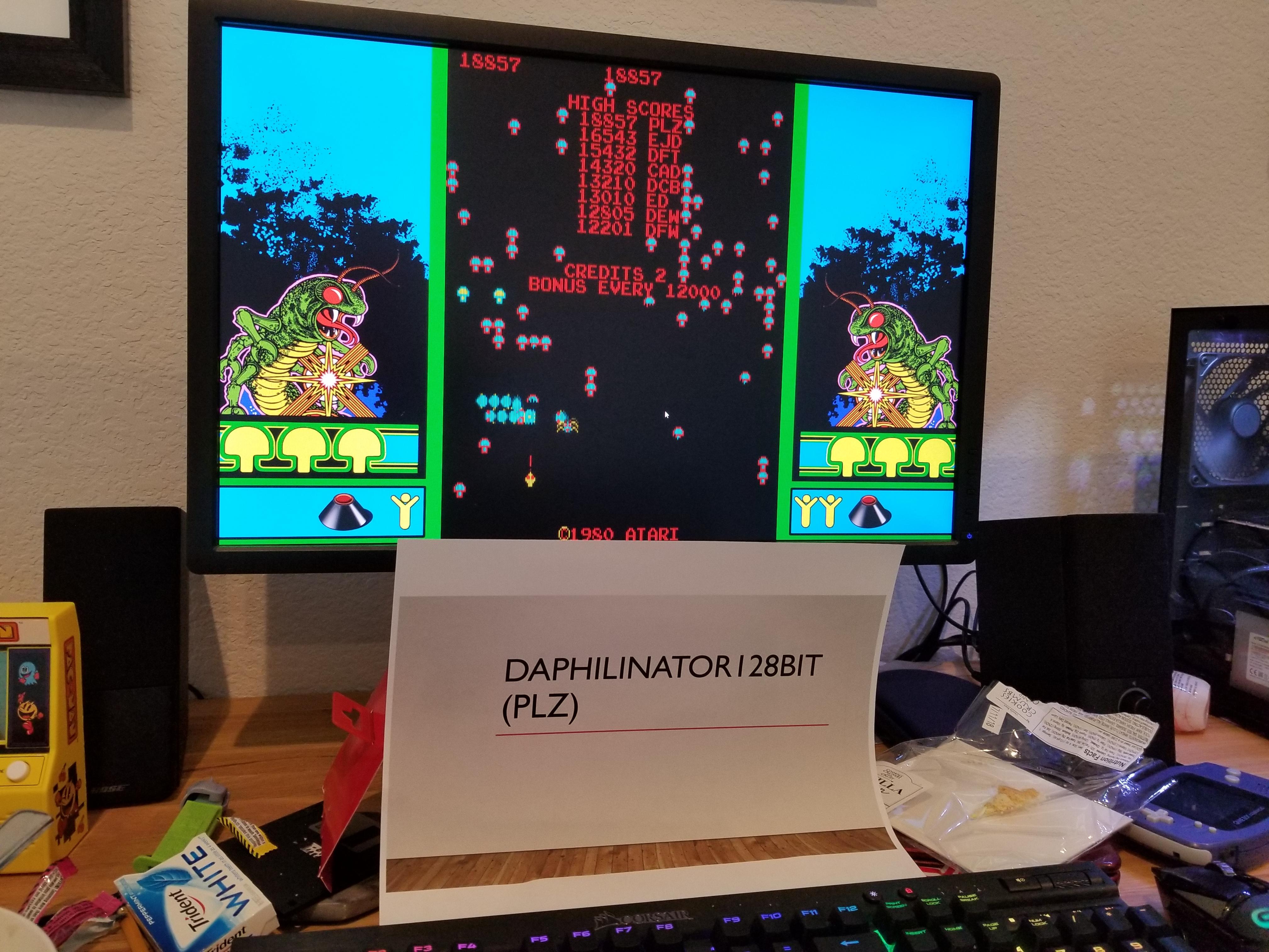 Daphilinator128bit: Atari Vault: Centipede [Arcade] (PC) 18,857 points on 2018-06-18 11:45:09