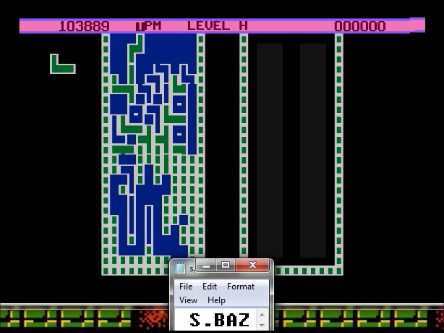 S.BAZ: Atartris: Level A Start (Atari 400/800/XL/XE Emulated) 103,889 points on 2016-04-12 22:50:36
