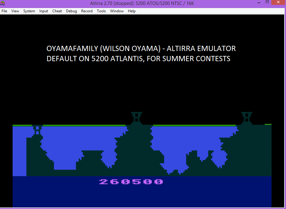oyamafamily: Atlantis (Atari 5200 Emulated) 260,500 points on 2016-07-16 08:42:40
