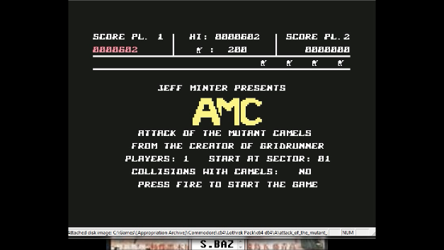 S.BAZ: Attack of the Mutant Camels (Commodore 64 Emulated) 602 points on 2020-08-09 18:08:23