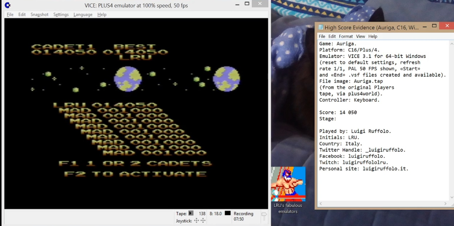 LuigiRuffolo: Auriga (Commodore 16/Plus4 Emulated) 14,050 points on 2020-06-16 16:42:48