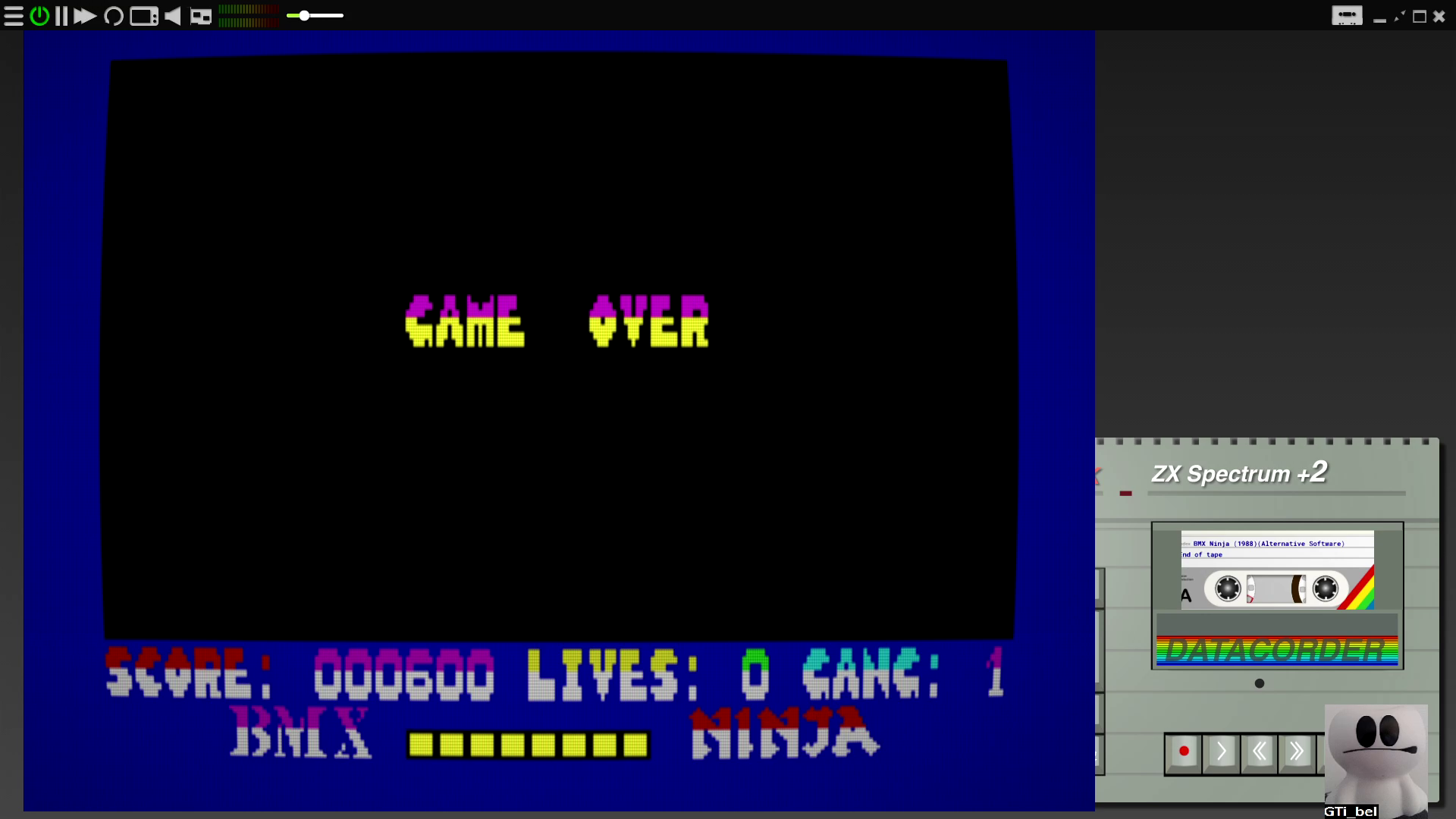 GTibel: BMX Ninja [Default Locations] (ZX Spectrum Emulated) 600 points on 2020-08-13 08:45:31