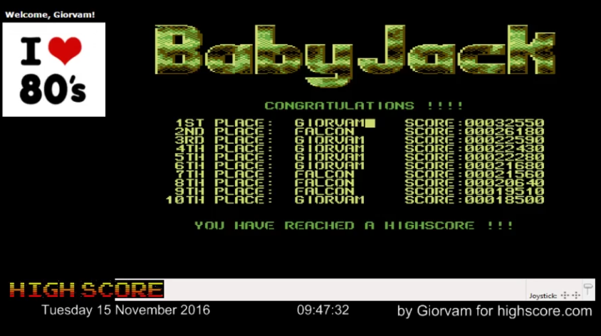Giorvam: Baby Jack (Commodore 64 Emulated) 32,550 points on 2016-11-15 02:01:45