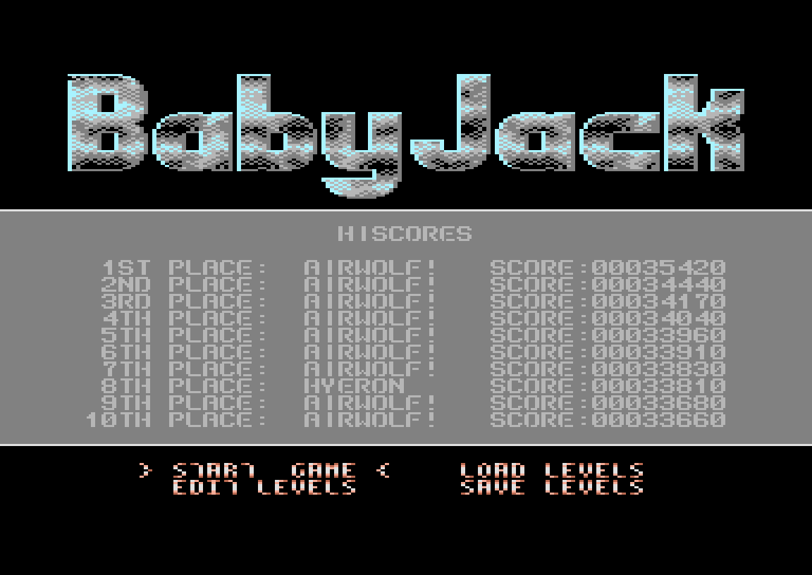 Hyeron: Baby Jack (Commodore 64 Emulated) 33,810 points on 2020-02-26 05:00:36