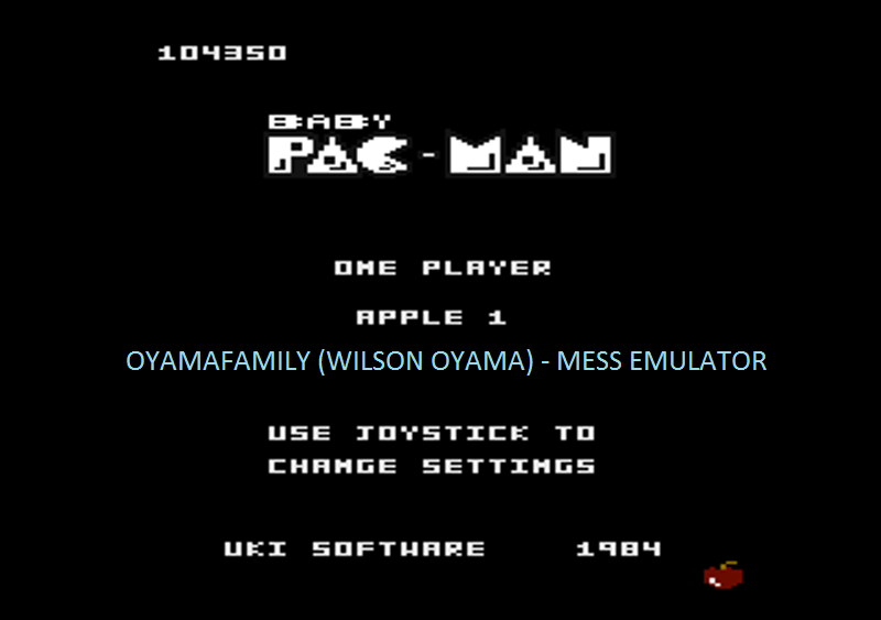 oyamafamily: Baby Pac-Man: Apple 1 (Atari 7800 Emulated) 104,350 points on 2016-05-03 19:49:35