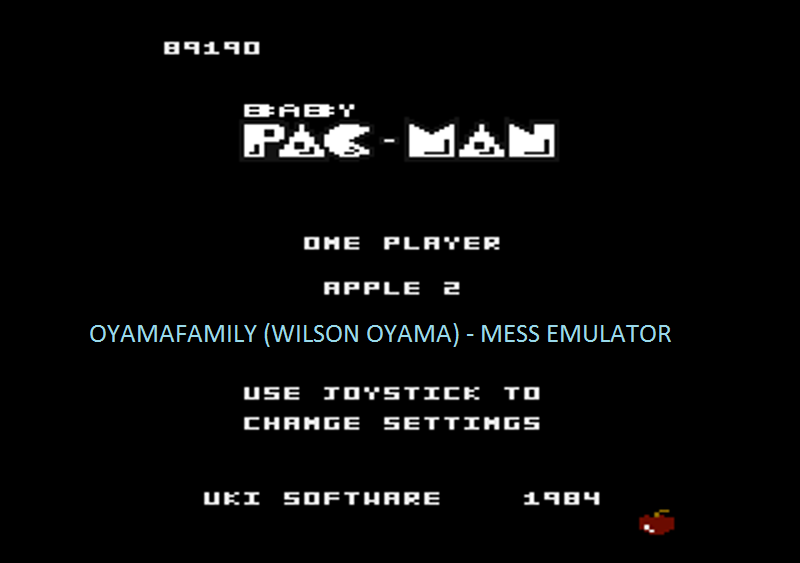 oyamafamily: Baby Pac-Man: Apple 2 (Atari 7800 Emulated) 89,190 points on 2016-05-03 19:50:09