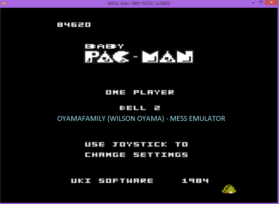 oyamafamily: Baby Pac-Man: Bell 2 (Atari 7800 Emulated) 84,620 points on 2016-04-29 20:49:20