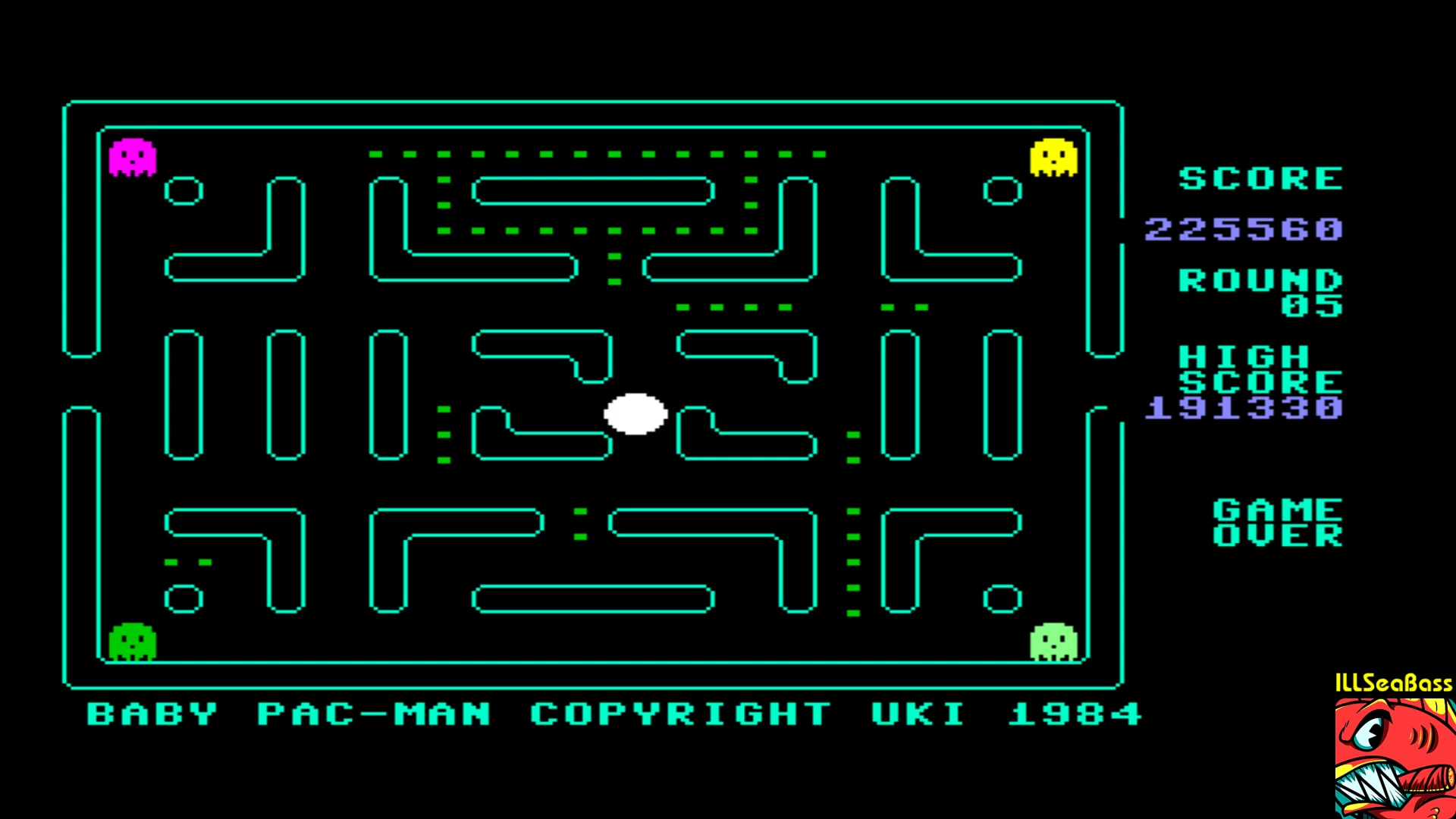 ILLSeaBass: Baby Pac-Man (Commodore 64 Emulated) 225,560 points on 2018-01-15 20:12:02