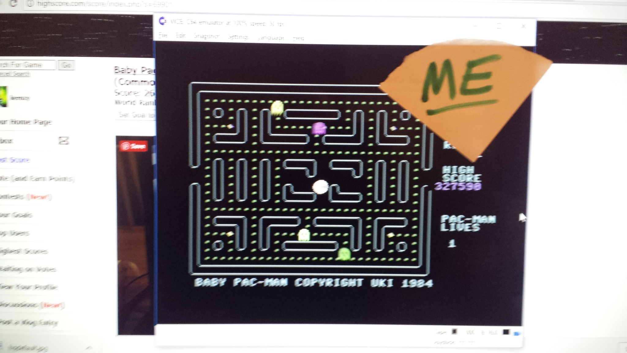 kernzy: Baby Pac-Man (Commodore 64 Emulated) 327,590 points on 2018-02-17 07:02:22