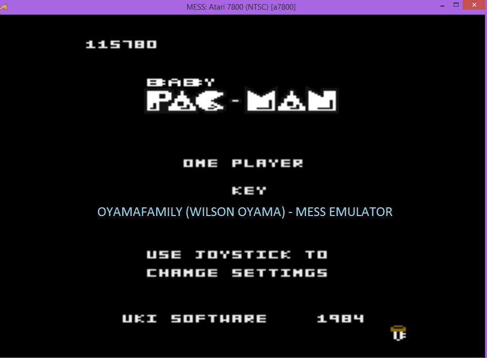 oyamafamily: Baby Pac-Man: Key (Atari 7800 Emulated) 115,780 points on 2016-04-29 20:48:50