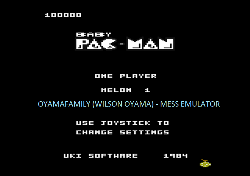 oyamafamily: Baby Pac-Man: Melon 1 (Atari 7800 Emulated) 100,000 points on 2016-05-03 19:50:00