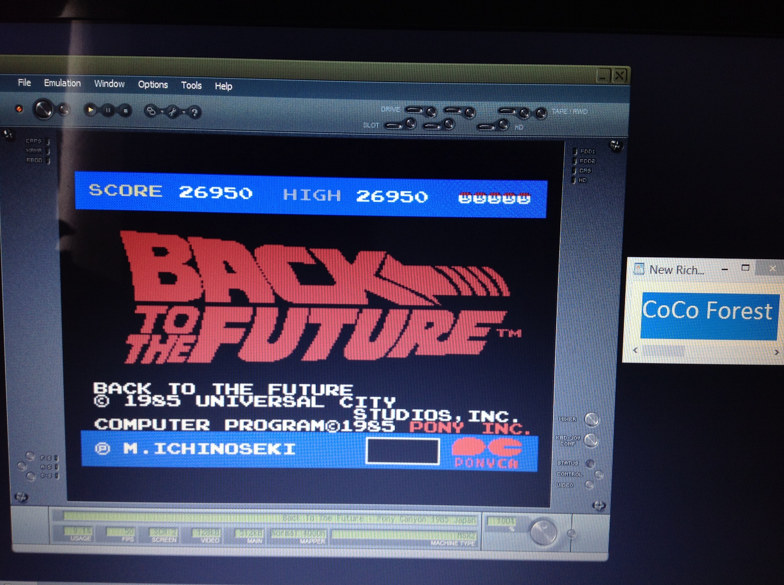 CoCoForest: Back To The Future (MSX Emulated) 26,950 points on 2018-10-11 03:20:42