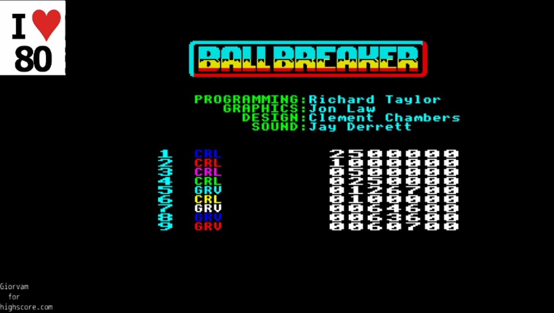 Giorvam: Ball Breaker 2 (ZX Spectrum Emulated) 126,700 points on 2019-12-18 08:05:20