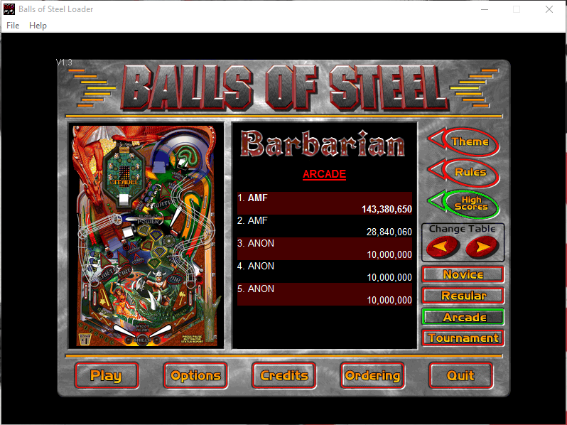 FosterAMF: Balls of Steel: Barbarian [Arcade] (PC) 143,380,650 points on 2015-12-09 23:51:10
