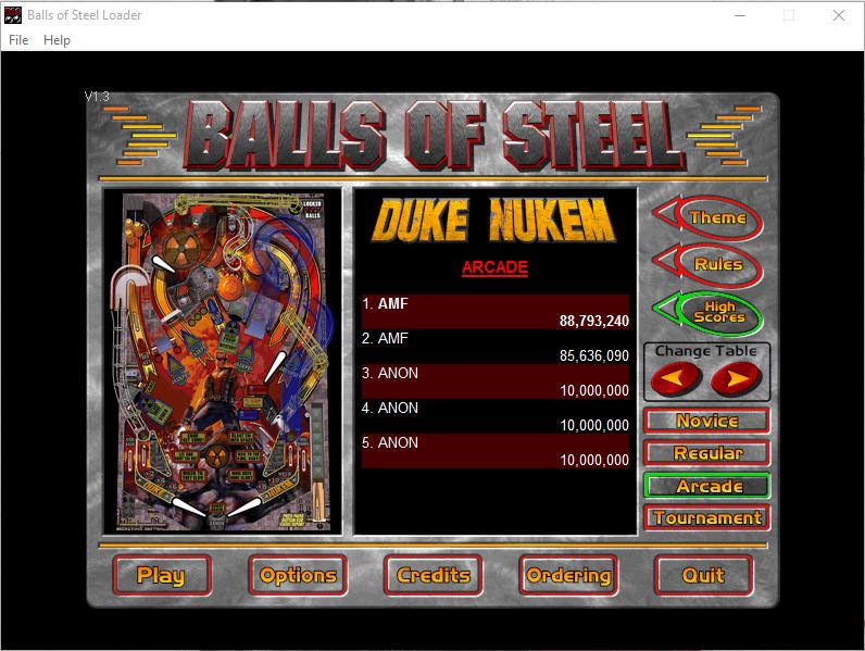 FosterAMF: Balls of Steel: Duke Nukem [Arcade] (PC) 88,793,240 points on 2016-01-01 15:55:54