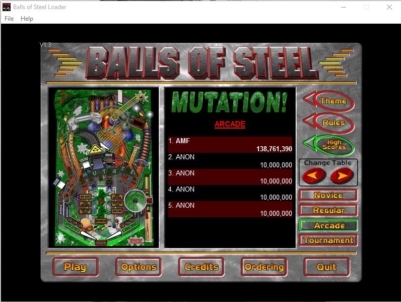 FosterAMF: Balls of Steel: Mutation [Arcade] (PC) 138,761,390 points on 2015-12-10 02:54:53